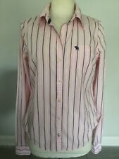 Abercrombie & Fitch Ladies Pink Long Sleeve Striped Shirt Size L Good Condition