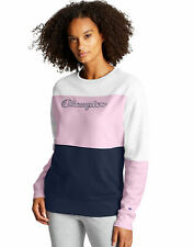 Champion Script Logo Sweatshirt Women's Powerblend Colorblock Crewneck Midweight