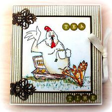 CHICKEN ON AN EGG CARTON (U get photo # 2) L@@KART IMPRESSIONS RUBBER STAMPS