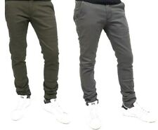Pantaloni uomo slim fit tasche america verde grigio casual eleganti chino skinny