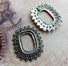 10 pcs Antique silver Solid Cabochon Resin base setting
