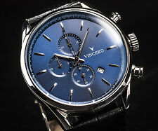 VINCERO Watches Chrono BLUE BLACK Italian Leather Band Men's Luxury Watch