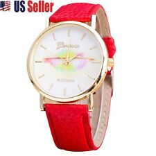 NEW RED GENEVA WOMEN FASHION DESIGN COLOURFUL LEATHER QUARTZ ANALOG WRIST WATCH