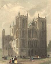 YORKS. Ripon Cathedral NW view 1850 old antique vintage print picture