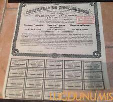 Companhia de Mossamedes – Paris Juillet 1910 Titre de 5 Actions