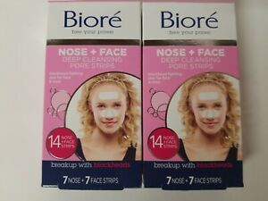 2 Pk BIORE Free Your Pores NOSE+FACE DEEP CLEANSING STRIPS 7 NOSE 7 FACE = 14 ct