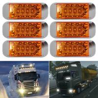 6PCS Amber 16 LED Side Marker Indicator Light 12V 24V Truck Trailer Lorry Light