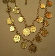 "JOAN RIVERS GOLD PLATED DOUBLE STRAND COIN CHARM NECKLACE 24"" LONG NEW IN BOX"