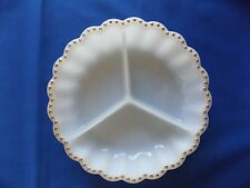 Round White Milk Glass Gold Dot Trim 3 Sections Divided 9 Inch Serving Bowl Nice