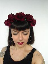 Serre-tête couronne de fleurs roses bordeaux catrina calavera coiffure pinup