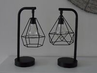 Retro Black Geometric Industrial LED Light Bulb Bed Side Table Lamp Battery