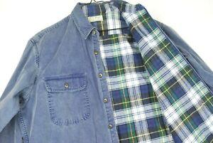 LL Bean XS Cotton Indigo Work Shirt Flannel Blue Plaid Men/'s Vintage Made In USA