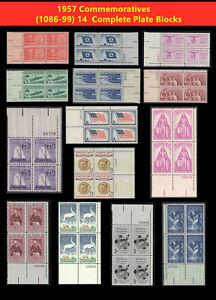 14 Complete Plate Block Scott(1086-99)Stamps 1957 Commemoratives US  jeffstamps