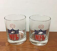 Set of 2 Vintage NFL Logos Drinking Glasses Football Super Bowl Pigskin
