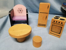 Vintage Doll House Wooden Furniture stove refrigerator chair table