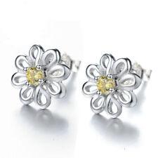 Flower Girl Elegant Ear Stud Earrings Women Silver Plated Hollow Yellow Crystal