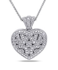 Amour Sterling Silver Diamond Accent Heart Locket Necklace
