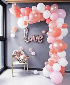 Balloon Garland Arch Kit Pink, White, Rose Gold 16Ft Long 100pcs Balloons Pack