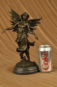 Mystisch Bronze Fairy Angel Skulptur Von Italienischer Künstler Aldo Vitaleh
