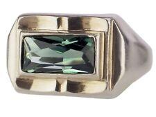 Art Deco 835 Silber Grüner Turmalin Solitär Damen Ring Handarbeit !