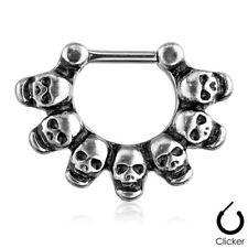 """Gauge 5/16"""" Steel Body Jewelry Septum Nose Clicker Skulls Linked 16"""