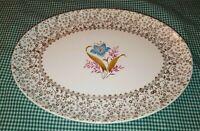 """Taylor Smith Taylor TST650 11"""" Oval Platter Gold Floral Filigree Rim Blue Flower"""