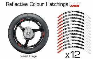 DUCATI RED REFLECTIVE MOTORCYCLE WHEEL TAPE STICKERS RIM DECAL STICKER VINYL 027