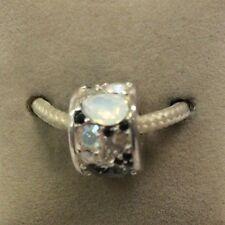 Chamilia Jewelry Mosaic Black & White Swarovski Crystal Bead Silver Charm