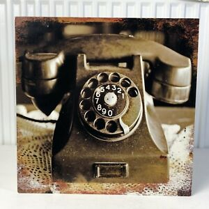 Vintage / Antique Style Metal Sign Featuring An Old Telephone /