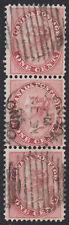 Canada 1859 1c rose Strip, Scott 14, VF used, catalogue - $360