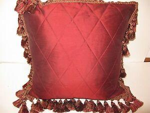 Isabella collection MARIA CHRISTINA Red Silk Diamond Deco pillow New