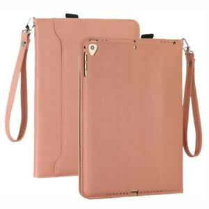 """For iPad Air 9.7"""" 6th 7th 8th 10.2"""" Pro 11 12.9 Leather Fold Stand Case w/ Strap"""