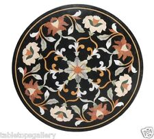 """Size 36""""x36"""" Italian Black Marble Coffee Table Top Inlay Living Home Decor H1456"""