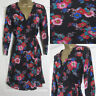 NEW Red Herring Debenhams Tea Dress Skater Wrap Floral Black Pink Red Sz 8-18