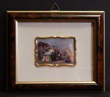 Italian Miniature Print on Silver Plaque by A. Fiorini Small Village