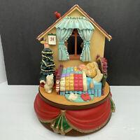 Vintage Santa's Best Rotating Santa Claus White Christmas Animated Music Box