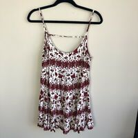 Brandy Melville Womens One Size Jada Dress Red White Floral Sleeveless Open Back