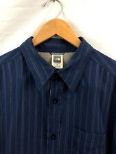 THE NORTH FACE Button Down Shirt MENS LARGE Modal Blue Striped OUTDOOR EUC H2