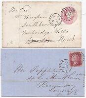 * 1859/60 1d STAR WRAPPER & 1d PINK COVER LEICESTER SIDEWAYS DUPLEX POSTMARKS