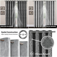 Silver Grey Eyelet Curtains Bedroom Thermal Insulated Blackout Ring Top Curtains