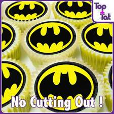 PRE-CUT 24 X BATMAN LOGO EDIBLE PARTY CUP CAKE WAFER  TOPPERS - BIRTHDAY