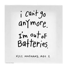 Kid's Quotes Canvas Wall Art - OUT OF BATTERIES - KQ-WA-ACK009