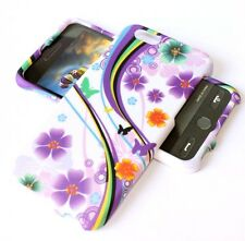 For iPhone 6 / 6S - HARD SKIN CASE COVER PURPLE WHITE FLOWERS BUTTERFLY
