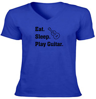 Play Guitar Music Funny Unisex Vneck Tee T-Shirt Mens Women Shirt Gift Eat Sleep