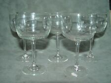 4 Vintage Etched Sherry Glasses Barrel Shaped