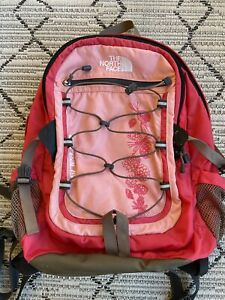 The North Face Borealis Pink Floral Backpack Laptop Straps/Zipper EUC