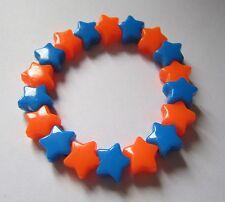 Kitsch neón naranja y azul de plástico estrella del grano Elástico Pulsera Retro Emo Goth