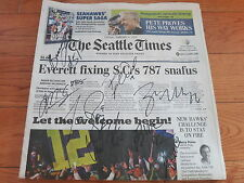 SEATTLE SEAHAWKS SIGNED SEATTLE TIMES PAPER BY TEAM + PROOF COA! SUPER BOWL