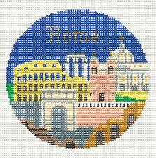 """ROME, ITALY Ornament handpainted 4.25"""" Round Needlepoint Canvas by Silver Needle"""