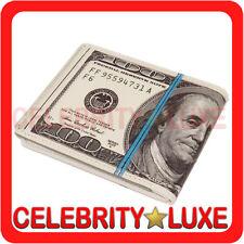 New 100 Dollar Money Print Bifold PU PVC Faux Leather Mens Wallet Bag Costume
